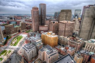 Boston's Financial District and Waterfront from Custom House Tower