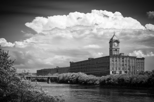 Ayer Mill Clock Tower with Clouds
