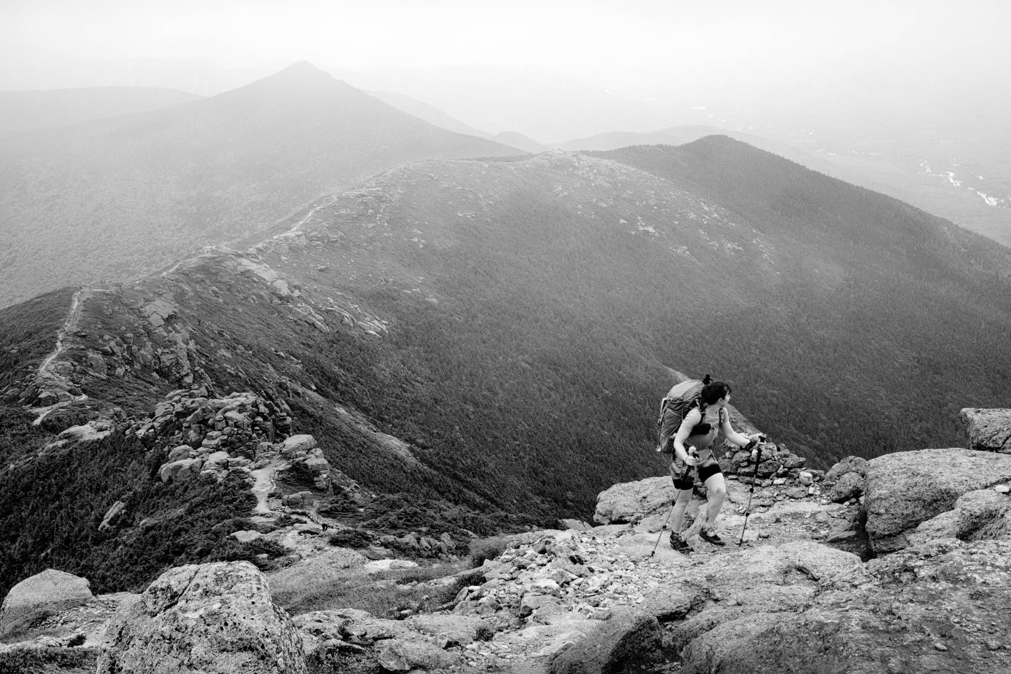 A hiker on Franconia Ridge Trail, White Mountains