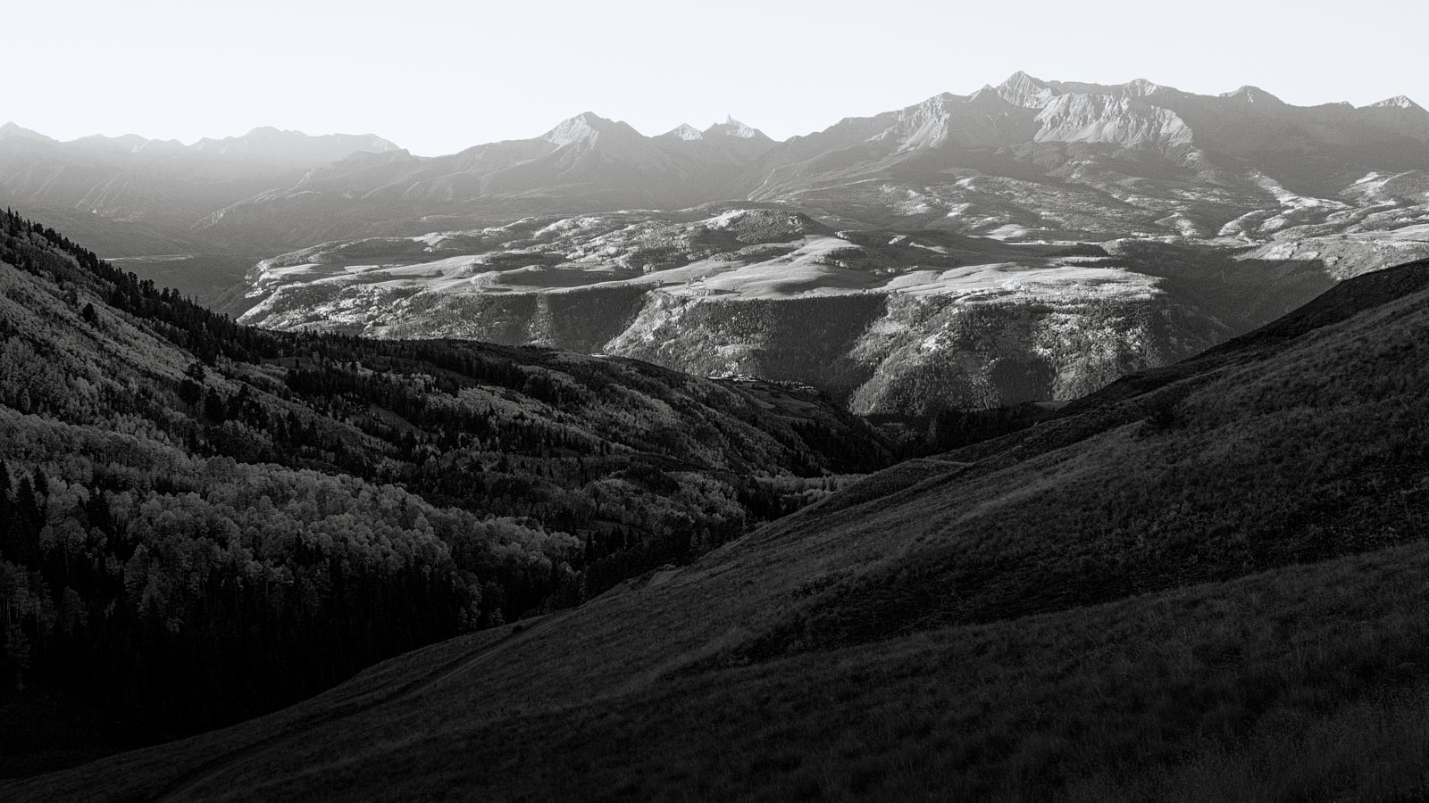 Wilson Mesa at Dawn in Black and White